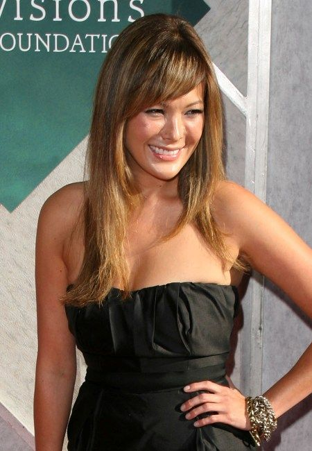Lindsay Price's long hairstyle with bangs | SheKnows CelebSalon
