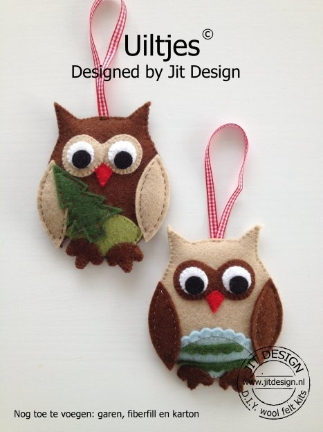 DIY wol vilt pakket Uiltjes/ DIY wool felt kit Owls