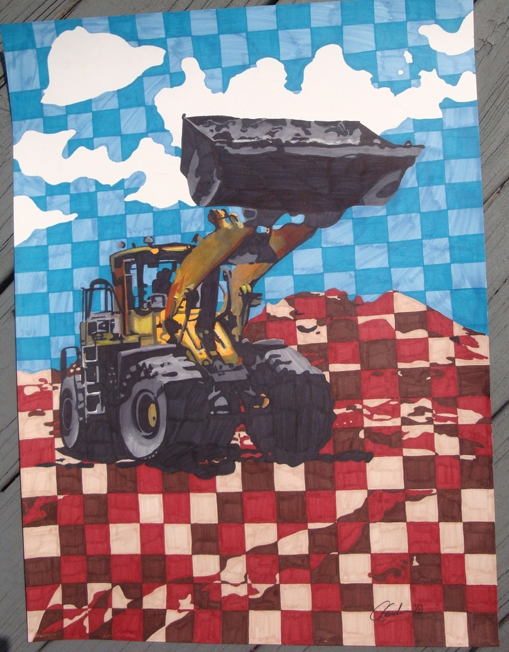 Coal Loader Drawing  Etsy.  Had some markers, thought I'd play and draw something different