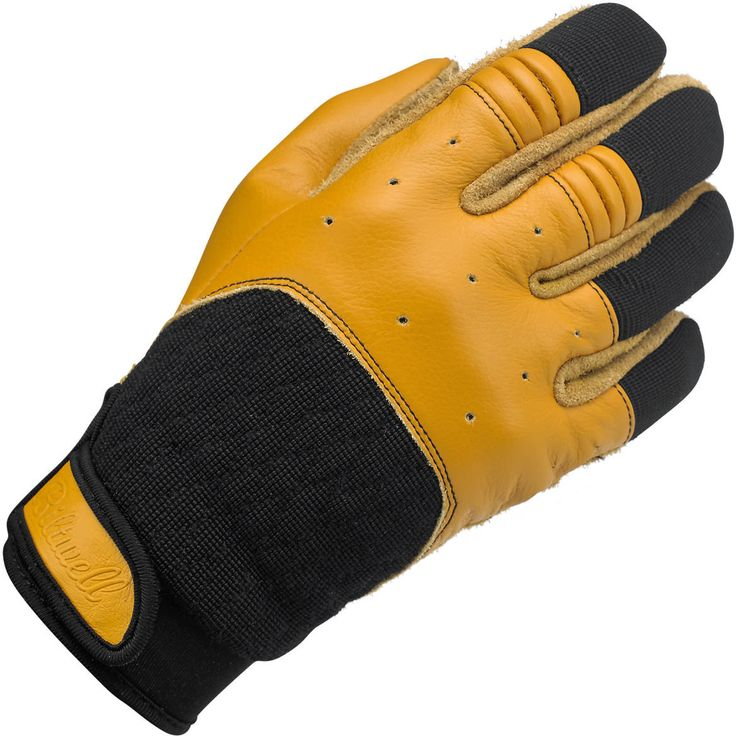 Biltwell Bantam Gloves Tan/Black : Leather construction in palm, fingers and thumbs • Quilted synthetic back panel for ventilation and comfort • Accordion baffles on index and middle fingers for flexibility • Fleece tricot half liner wicks moisture for a better grip • Neoprene Lycra wrist cuff with leather Velcro closure • Rugged polyester stitching throughout • XS through XXL sizes