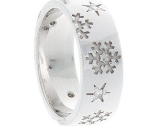 Diamond Snowflake Wedding Band, 14K White Gold Snowflake Ring, Commitment Jewelry for Couples