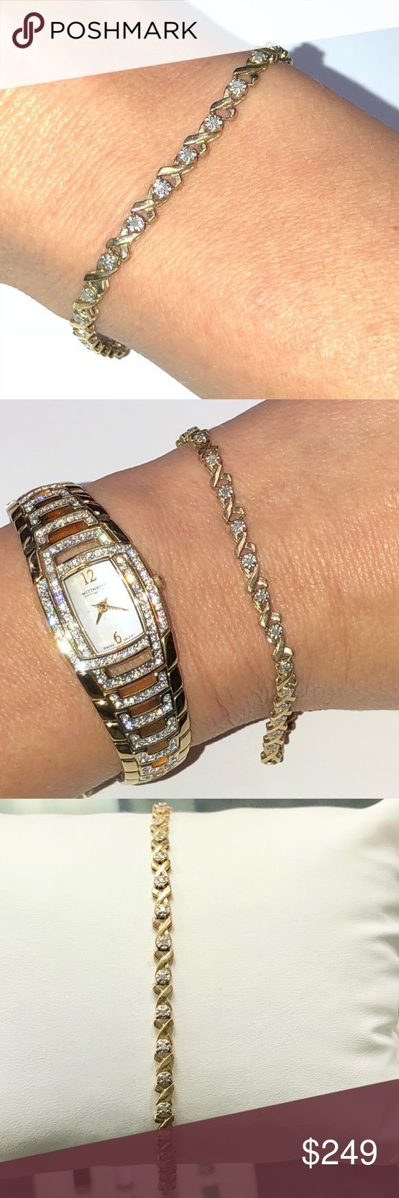"10k Yellow Gold Diamond Tennis Bracelet 7.5"" 10k Yellow Gold Diamond Tennis Bracelet. The links close to the clasp have a stiffened solder area. Jewelry Bracelets #jewelrybracelets"