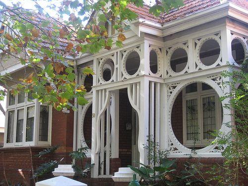 Art Nouveau timber work on a Melbourne Edwardian house