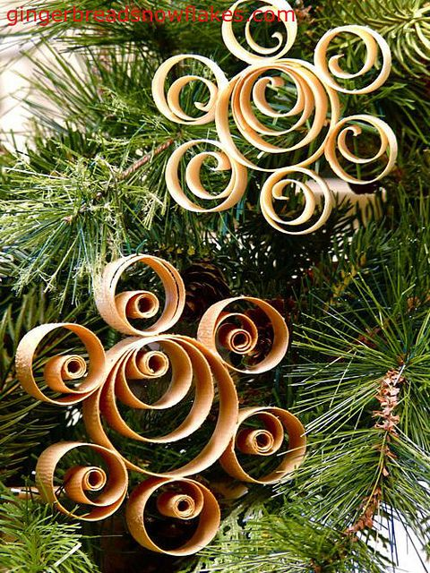 Scandinavian Shaved Wood Ornaments by gingerbread_snowflakes, via Flickr