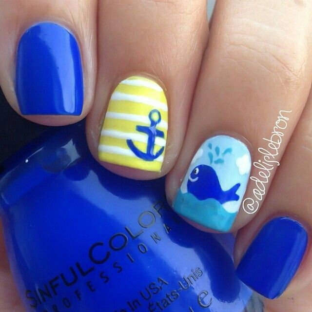 Blue & Yellow Anchor and Whale Nautical Nails - 1528 Best Beach Nails Images On Pinterest Summer Nail Art