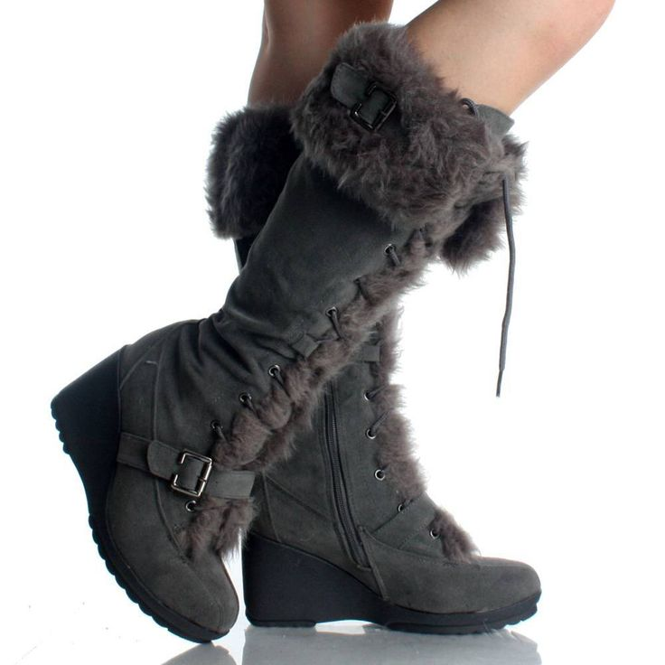 suede winter boots for women | Gray Suede Fur Winter Lace Up Wedge High Heel Womens Mid Calf Boots ...