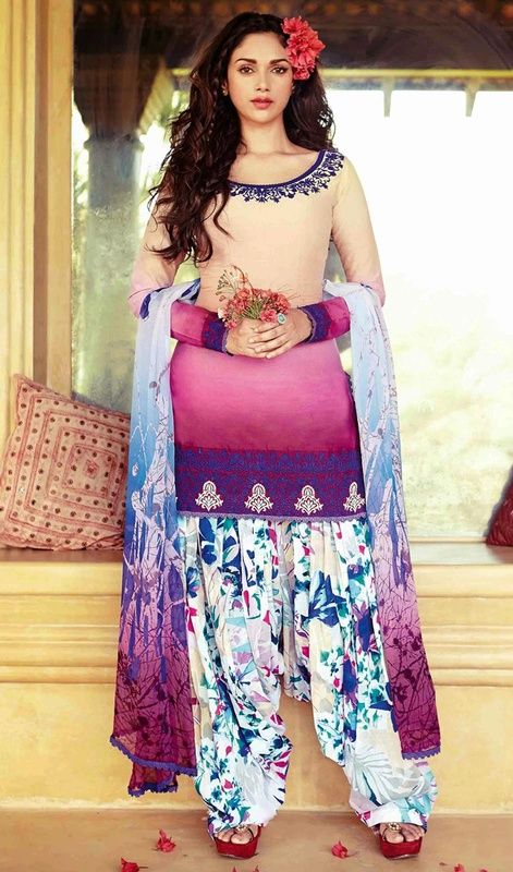 Genuine splendor comes out as a results of the dressing design with this cream and pink shade cotton printed salwar suit. The ethnic print and resham work in the dress adds a sign of magnificence statement to your look.  #PrintedPatiyalaSalwarKameez