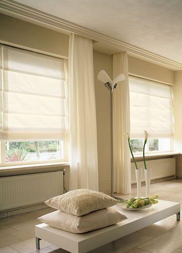 Римские шторы. Бежевые шторы. Шторы в экостиле. Легкие шторы. Интерьер в стиле минимализм.