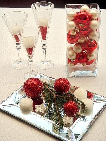Decoración de centros de mesa de navidad.