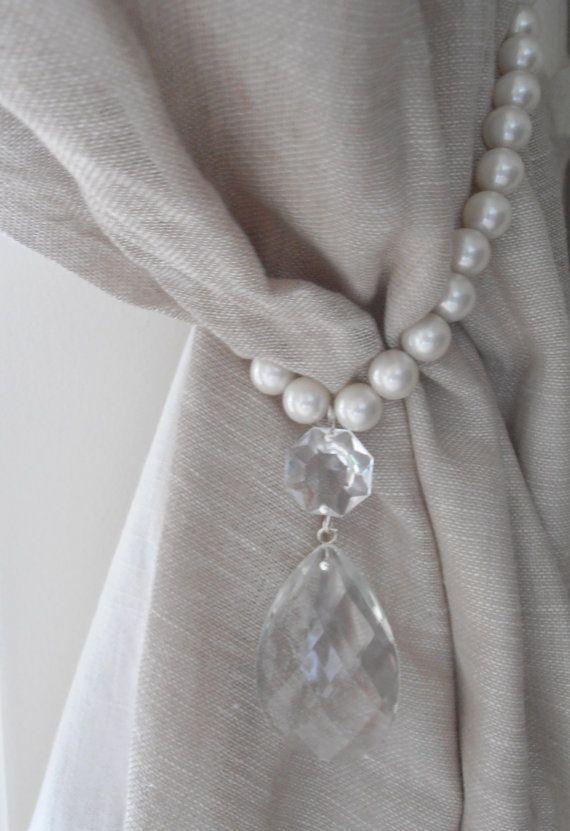 SET OF 2 decorative curtain tiebacks faux pearls, vintage crystals- drapery holder - tie backs curtain, vintage drops