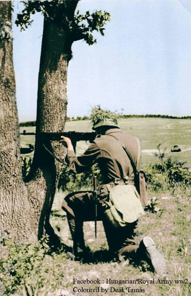 "Hungarian ""Király"" submachinegun in action"