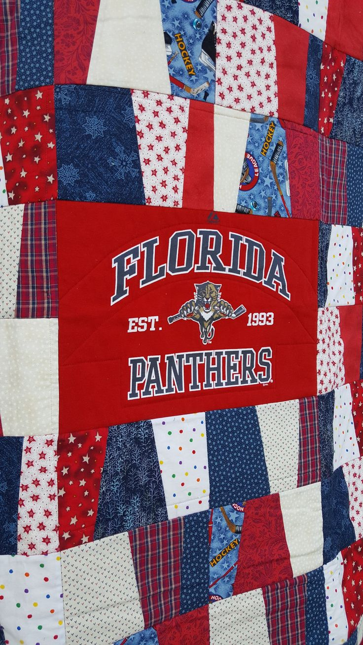 Hockey Quilt/ Florida Panthers hockey/Game day quilt/vintage T-shirt/patchwork Quilt/Panther Fan Quilt/ NHL