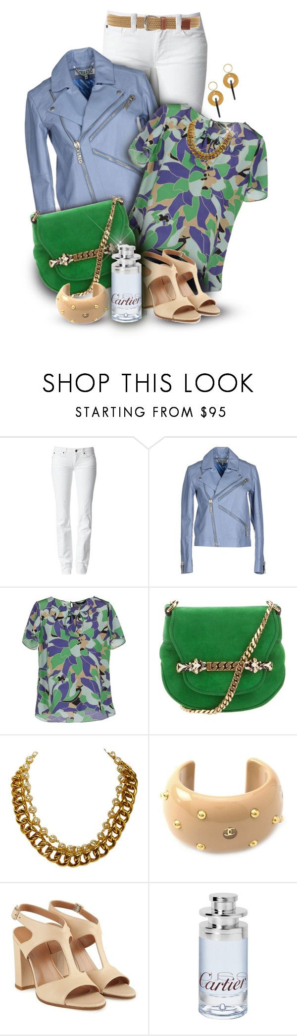 """""""White Jeans & Rena Lange Blouse"""" by franceseattle ❤ liked on Polyvore featuring 7 For All Mankind, Kenzo, Rena Lange, Gucci, Chanel, Cartier and Loro Piana"""