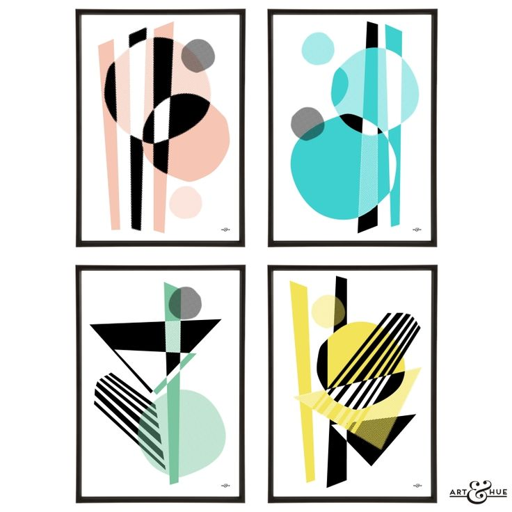 MidCentury Memphis Group of four abstract halftone pop art prints on 310gsm fine art archival matte paper 100% cotton using pigment inks