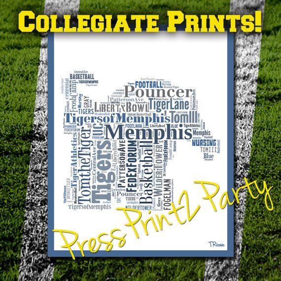 Collegiate Print- University of Memphis: College Typographic, Memphis Art, Word Cloud, High School Grad Gift, HS Grad, College Grad