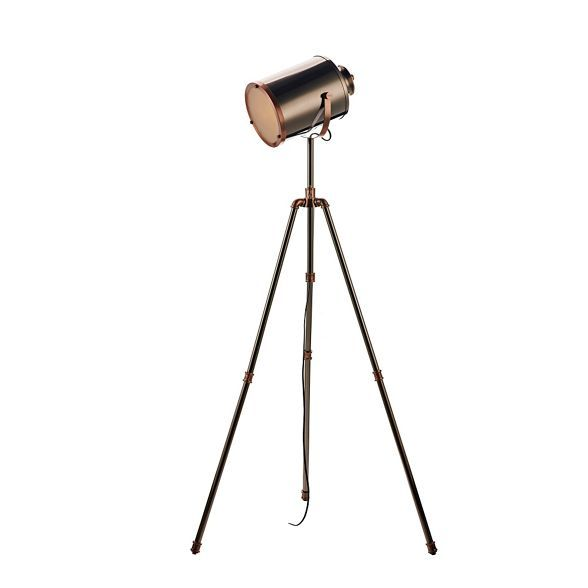 This tripod floor lamp offers industrial inspired style for the home. It features a polished steel base with a copper finish and a frosted shade that can be moved around to direct the light. A sleek piece, it is equally suited to modern and traditional interiors.
