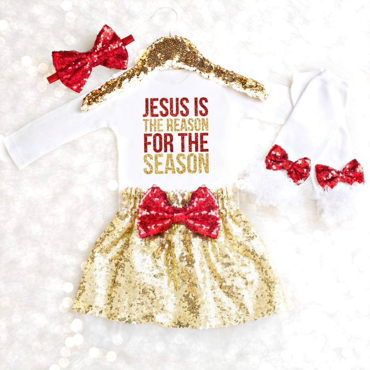 Baby Girl Christmas Outfit Jesus is the Reason for the Season Christmas Onesie Girl Christmas Newborn Girl Red Gold Christmas Outfit Tutu by KennedyClairesCloset on Etsy https://www.etsy.com/listing/484446493/baby-girl-christmas-outfit-jesus-is-the