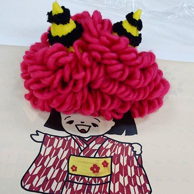 鬼の帽子。研修生のお母さんの作品です。 #東亜和裁 #静岡 #節分 #手作り #鬼 #帽子