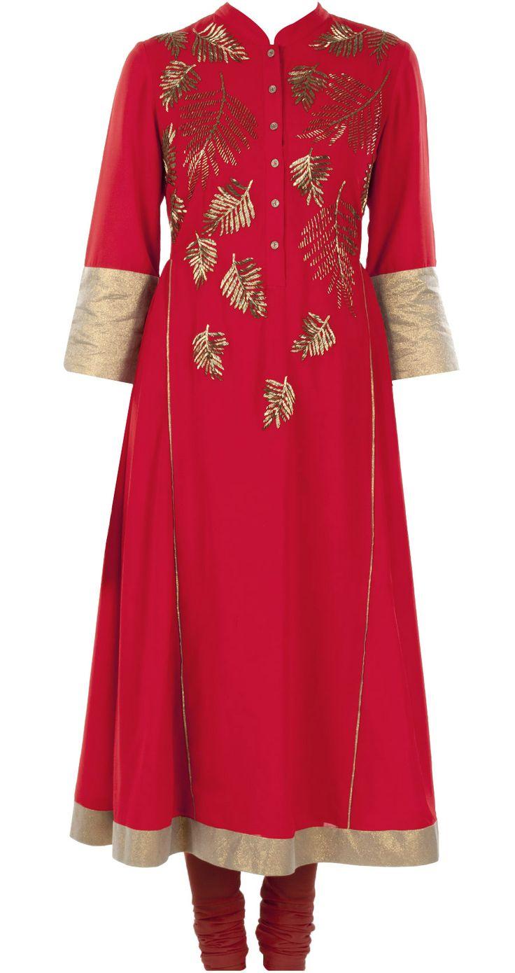 Red with gold ferns anarkali by NAMRATA JOSHIPURA.http://www.perniaspopupshop.com/designers-1/namrata-joshipura