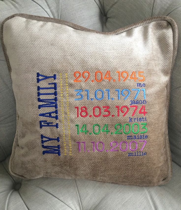 Date cushion machine embroidery