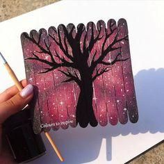 "Tree silhouette on Popsicle sticks ...... . . . . . . . <a class=""pintag"" href=""/explore/Art/"" title=""#Art explore Pinterest"">#Art</a> <a class=""pintag"" href=""/explore/artwork/"" title=""#artwork explore Pinterest"">#artwork</a> <a class=""pintag searchlink"" data-query=""%23recycle"" data-type=""hashtag"" href=""/search/?q=%23recycle&rs=hashtag"" rel=""nofollow"" title=""#recycle search Pinterest"">#recycle</a>…"
