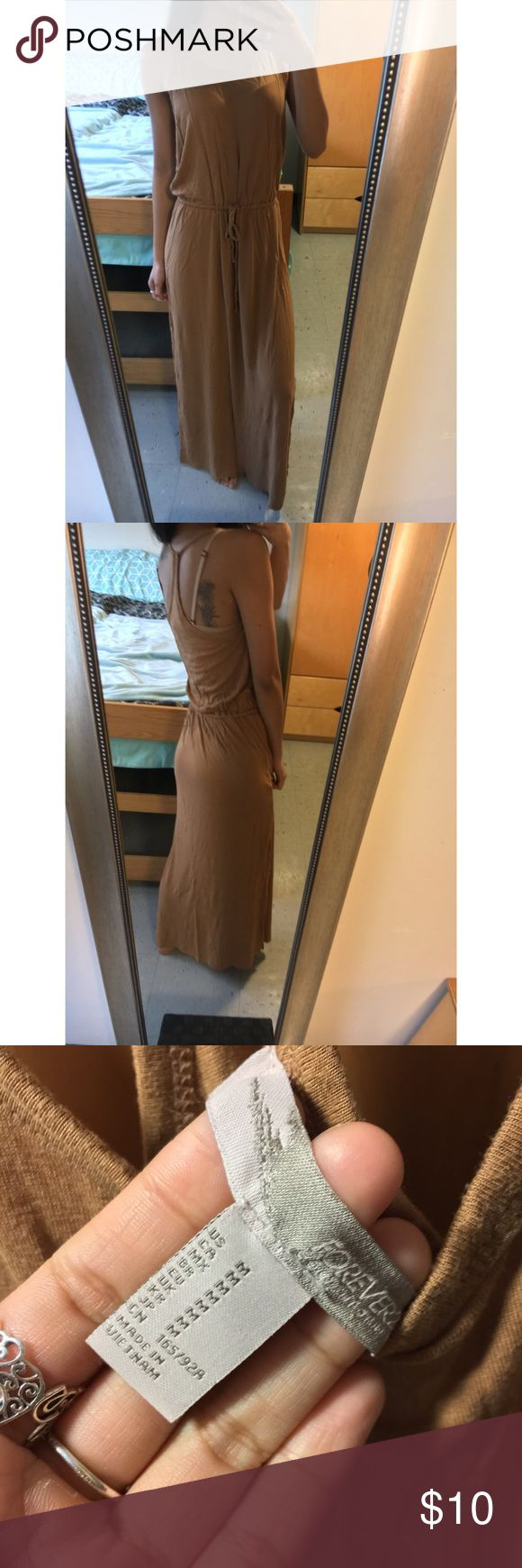 Chestnut Brown Maxi Dress Worn once perfect condition! Drawstring at waist make me an offer please :) Forever 21 Dresses Maxi