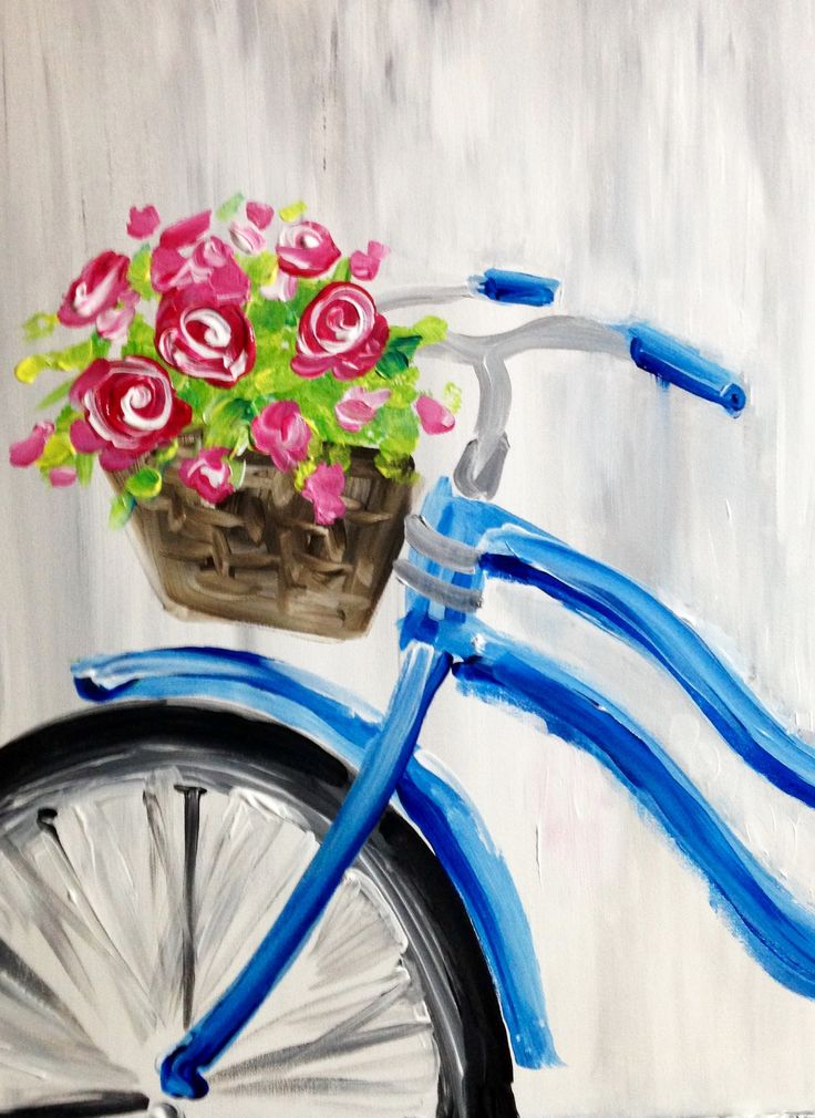 Paint Nite - Red Roses and Blue Bicycle
