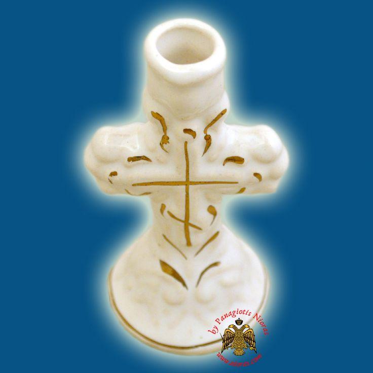 Candle Holder Orhtodox Cross Colored Ceramic White 8cm