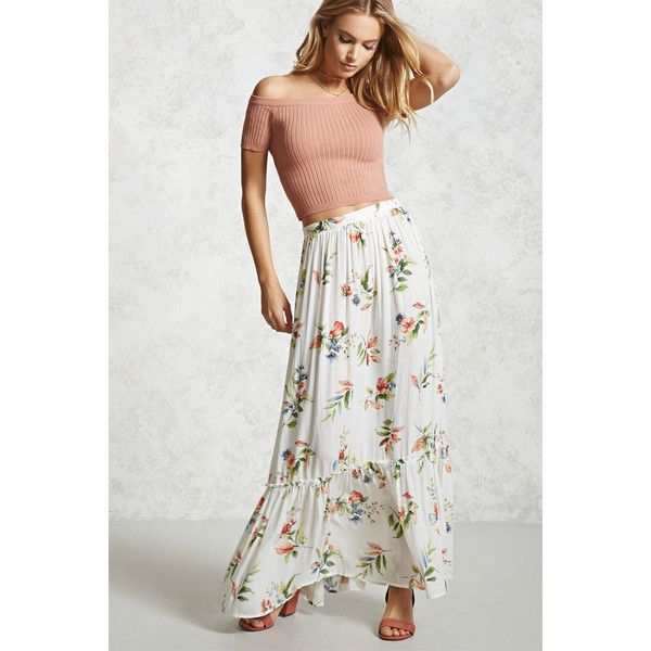c533f8833470 Forever21 Floral Ruffle Hem Maxi Skirt ($20) ❤ liked on Polyvore featuring  skirts, maxi skirts, long skirts, floral printed skirt, full length maxi  skirt ...
