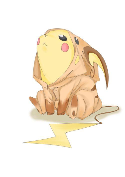 Pikachu dressed as Raichu. Pokemon. Dream big, little dude. Dream big.