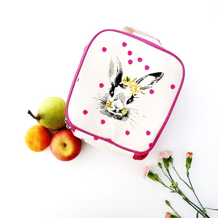 Our Bella Bunny lunch bag is the cutest way to keep your little one's lunches cool or warm!  With insulation inside, and a removable strap - this bag has it all!
