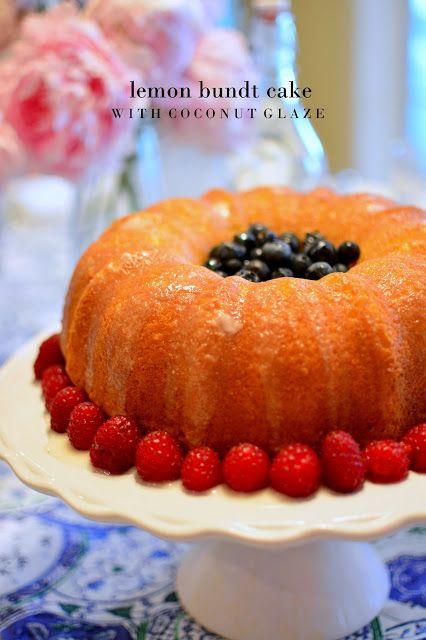 lizzy writes: lemon bundt cake with coconut glaze. I like the presentation with the fruit