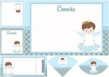 Kit de Angelito en Celeste: Imprimibles para Fiestas e Invitaciones para Imprimir Gratis.