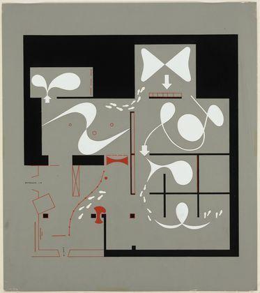 "MoMA | The Collection | Herbert Bayer. ""Bauhaus 1919-1928,"" The Museum of Modern Art, New York, December 7, 1938-January 30, 1939, Exhibition floor plan. 1938"