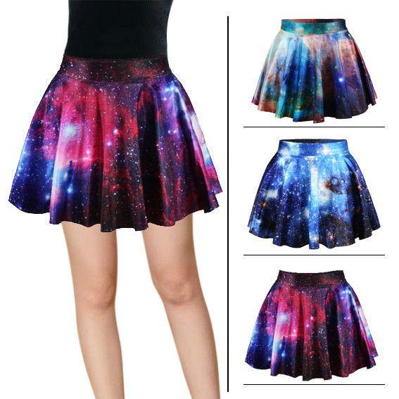 Harajuku star galaxy high waist skirt