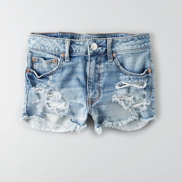 AEO Hi-Rise Festival Shorts ($34) ❤ liked on Polyvore featuring shorts, medium destroyed wash, destroyed shorts, ripped shorts, american eagle outfitters shorts, relaxed fit shorts and fitted shorts