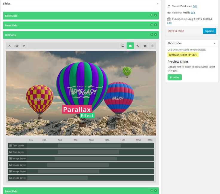 Unleash – A Wordpress Accordion Slider with a Drag & Drop Slide Builder Unleash is a the wordpress version of unleash jQuery plugin, it includes a powerful drag and drop slide builder with the abil...
