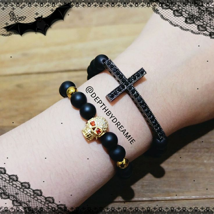 Charm bracelette Black ❤ skull ❤ cross ❤