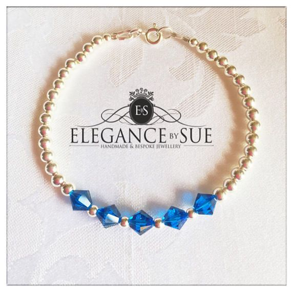 Sterling Silver & Capri Blue Crystal Bracelet
