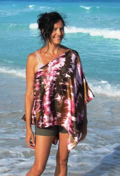Tie Dyed Poncho Satin Charmeuse Beach Cover Up Nursing