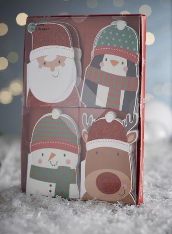 Cute character mini christmas cards