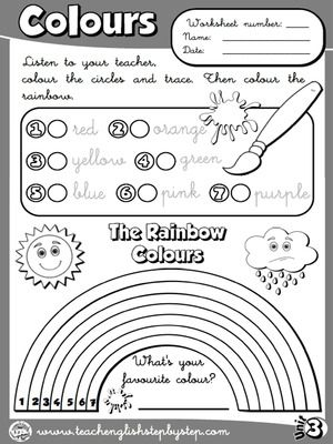 Colours - Worksheet 1 (B&W version)