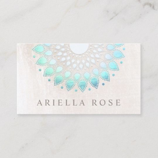 Elegant Turquoise Floral Lotus White Marble Business Card | Zazzle.com