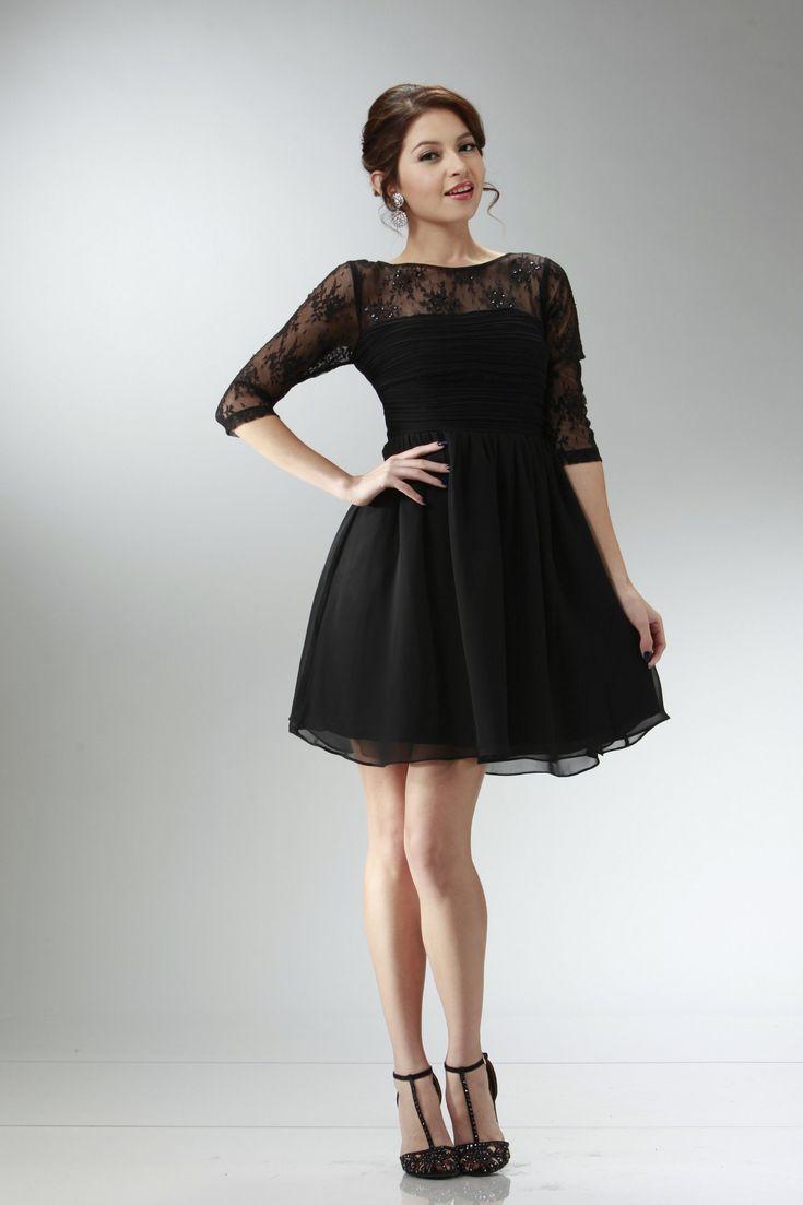 Short long sleeve black dress