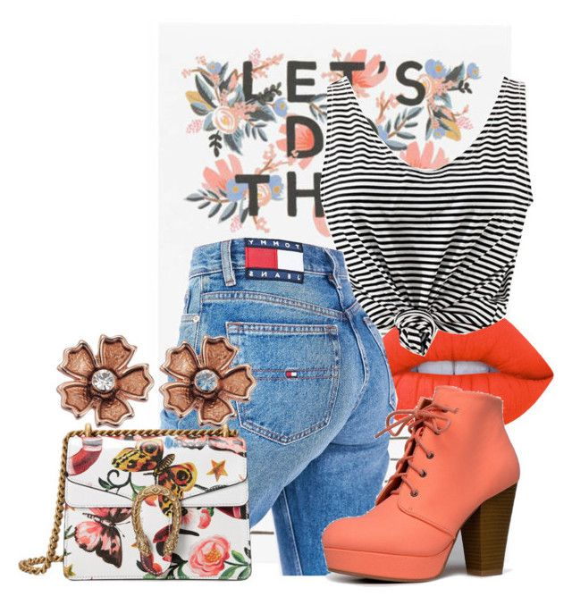 """Eight."" by rhoda1994 on Polyvore featuring Lime Crime, Tommy Hilfiger, Qupid and Gucci"