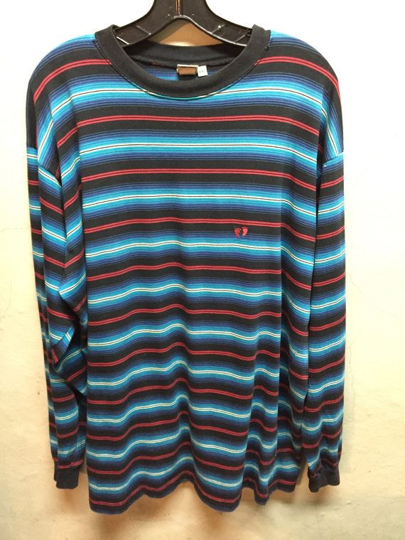 vintage t shirt, 70s, hang ten, vintage hang ten, surf, t shirt, long sleeve, black , turquoise, red, purple, white, XXL