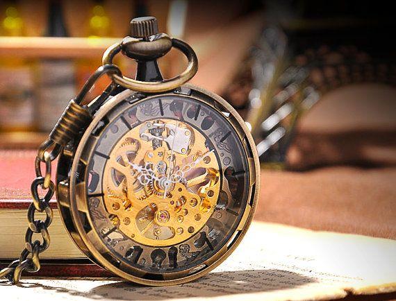 Männer Jahrgang Watch antike Uhren mechanische Hand Wind Skelett Taschenuhr, Steampunk; Geschenk für ihn, Jubiläum, Hochzeiten, Groomsman W #5