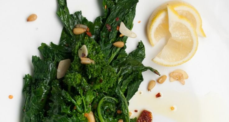 Rapini with Goat Cheese, Onions, and Pine Nuts - Italian http://gustotv.com/recipes/sides/broccoli-rabe-goat-cheese-onions-pine-nuts/