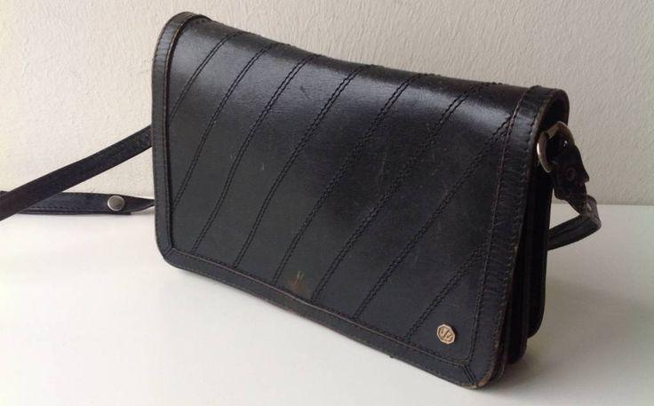 Vintage jaren '70 tasje, leer, zwart, tas #zwartvintagetasje