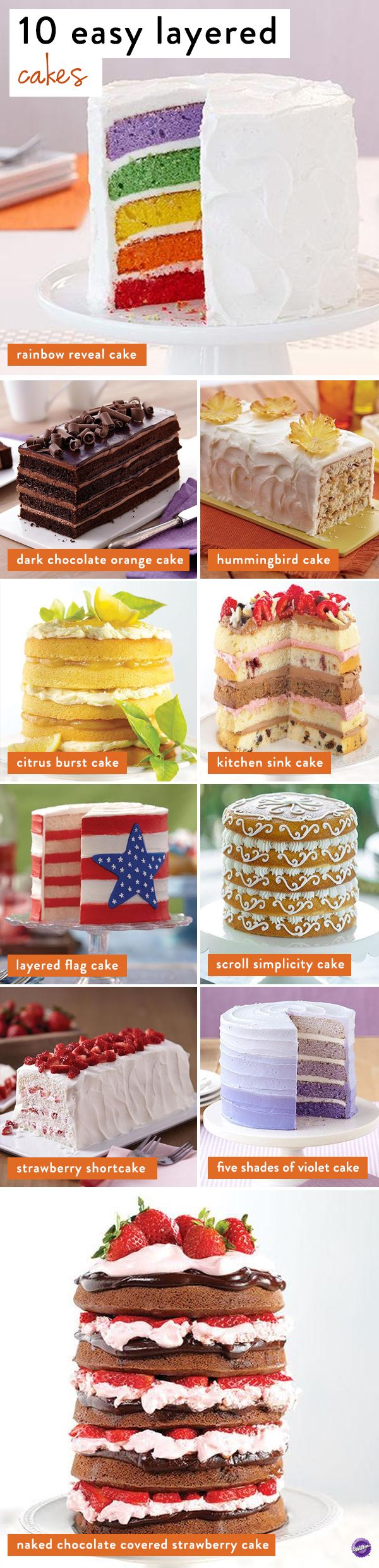 10 Easy Layered Cake Recipes - Using the Easy Layers pan set, learn how to make these easy layered cakes! These pans help save you the trouble of torting your cakes to make a trendy, tall, multi-layer cake. Just one box of cake mix or a single batch of batter is enough to fill all the pans in each set!